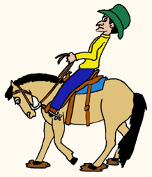 Cartoon of rider backing horse