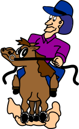Cartoon of rider stopping horse