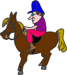 Cartoon of man sitting on horse.